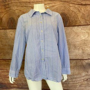 Talbots Womens Button Front Shirt Blue White Cotto